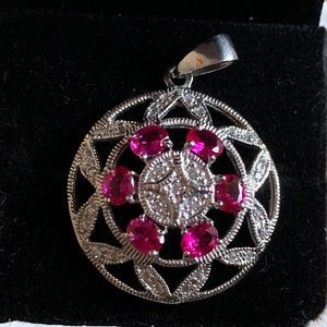 Jewelry - Natural rubies Art Deco pendant